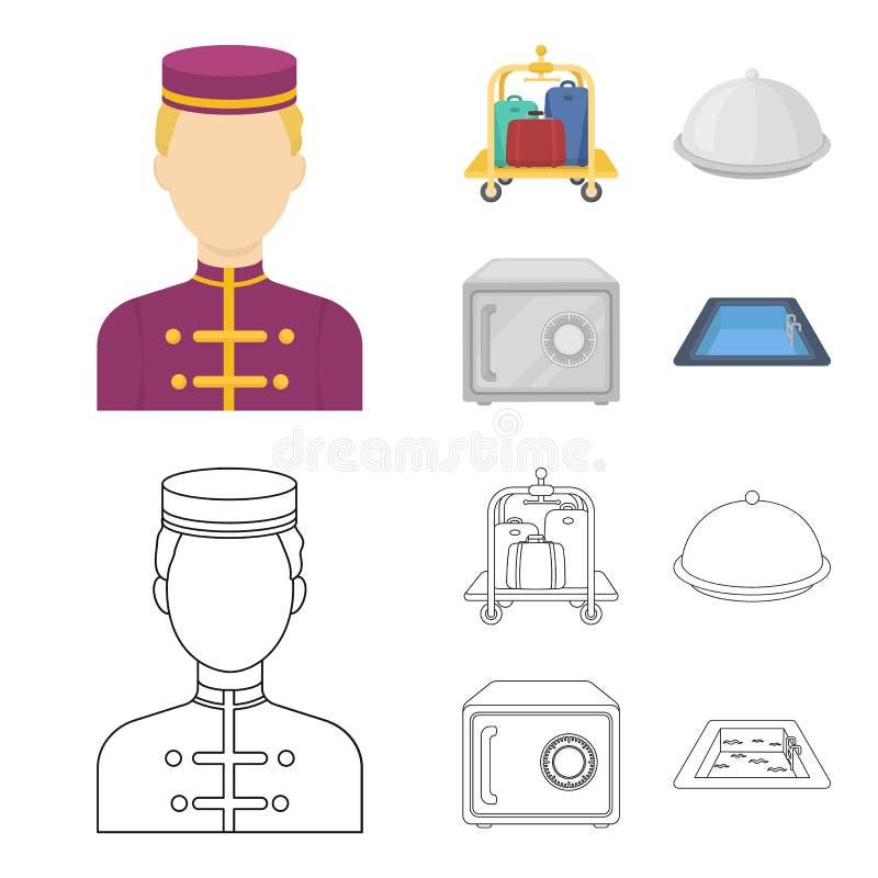 Καροτσάκι με τις αποσκευές, χρηματοκιβώτιο, πισίνα, συμπλέκτης Καθορισμένα εικονίδια συλλογής ξενοδοχείων στα κινούμενα σχέδια, δ διανυσματική απεικόνιση