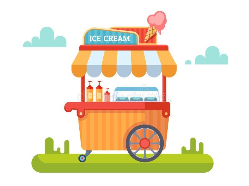 Καροτσάκι με το παγωτό διανυσματική απεικόνιση