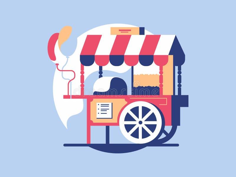 Καροτσάκι με popcorn διανυσματική απεικόνιση