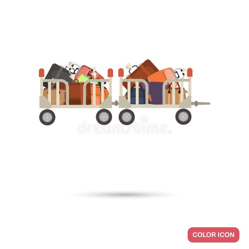 Καροτσάκι τρακτέρ αερολιμένων με το επίπεδο εικονίδιο χρώματος αποσκευών διανυσματική απεικόνιση