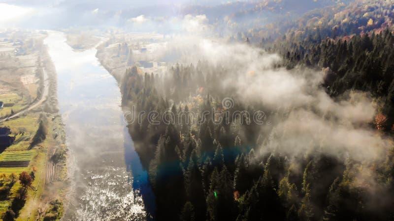 Καρπάθια βουνά τοπίων φθιν&o Ποταμός, λόφοι και κωνοφόρα δάση στις κλίσεις Πρωί στοκ φωτογραφίες με δικαίωμα ελεύθερης χρήσης