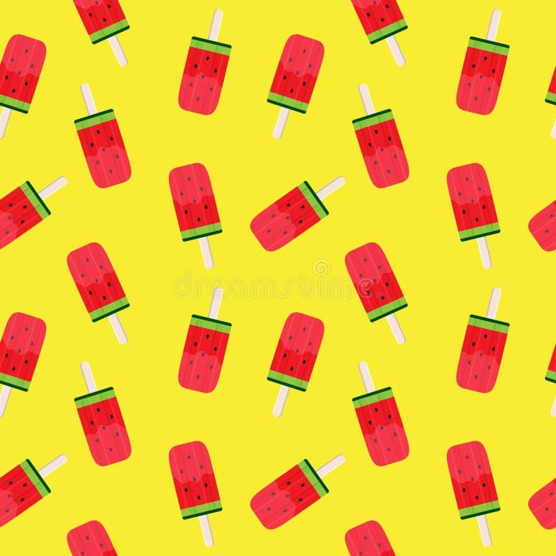 Καρπουζιών διανυσματική απεικόνιση υποβάθρου σχεδίων παγωτού άνευ ραφής απεικόνιση αποθεμάτων