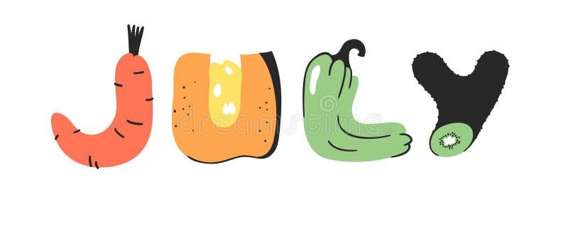 Καρτούν-διανύσματα λαχανικών και φρούτων και λέξη ΙΟΥΛΙΟΣ Χορτοφαγική τροφή για χειροποίητη σχεδίαση Πραγματική τέχνη Creative Ve απεικόνιση αποθεμάτων