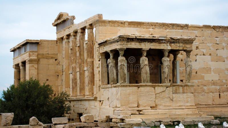 Καρυάτιδες στο Erechtheion ελληνικός ναός Ακρόπολη Αθήνα στοκ φωτογραφίες με δικαίωμα ελεύθερης χρήσης
