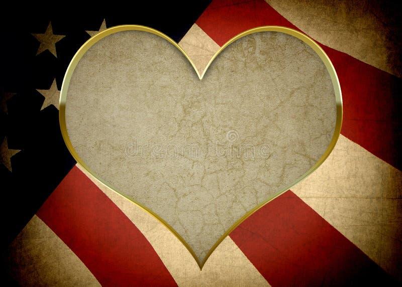 Καρυκευμένη ΑΜΕΡΙΚΑΝΙΚΗ σημαία με το ένθετο καρδιών διανυσματική απεικόνιση