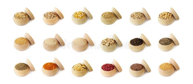 καρυκεύματα χορταριών σιταριών φασολιών διάφορα στοκ φωτογραφία με δικαίωμα ελεύθερης χρήσης