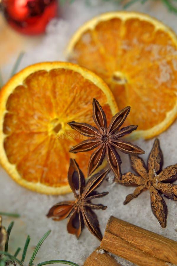 Καρυκεύματα Yuletide και πορτοκαλιές φέτες στοκ φωτογραφίες με δικαίωμα ελεύθερης χρήσης