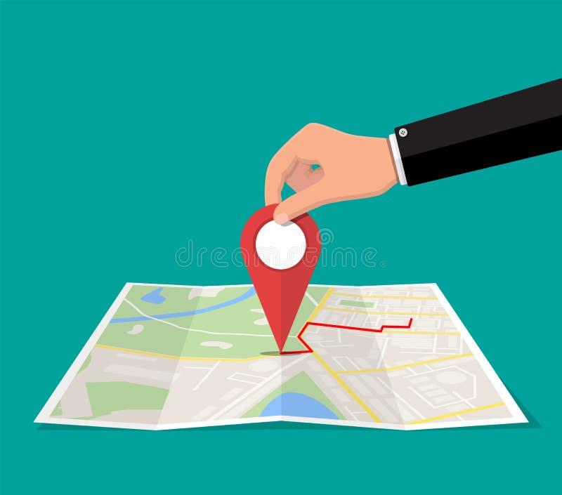 Καρφίτσα θέσης υπό εξέταση και χάρτης εγγράφου ελεύθερη απεικόνιση δικαιώματος