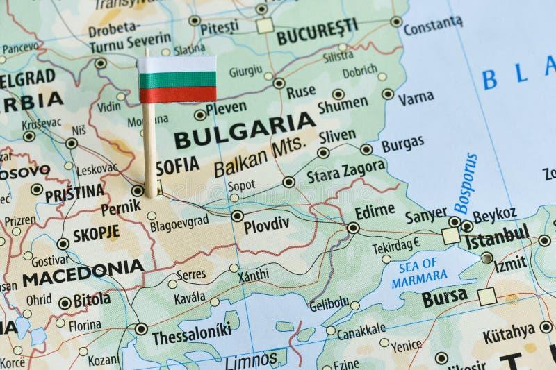 Καρφίτσα σημαιών χαρτών της Βουλγαρίας στοκ εικόνα