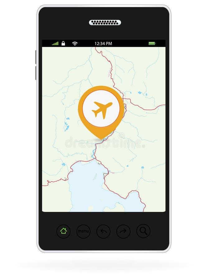 Καρφίτσες ναυσιπλοΐας αεροπλάνων στο έξυπνο τηλέφωνο διανυσματική απεικόνιση