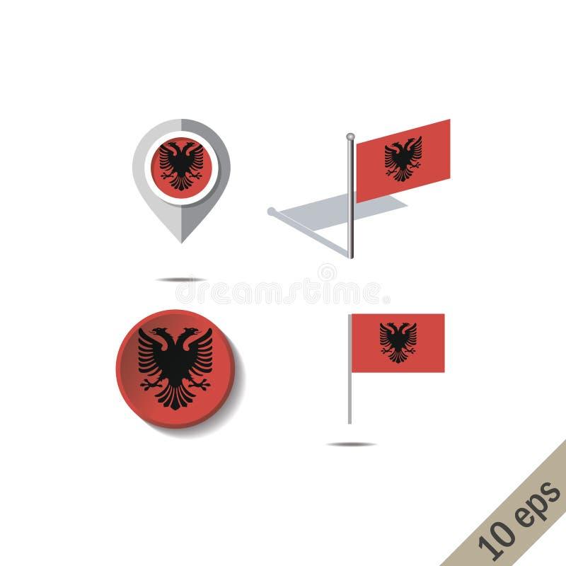 Καρφίτσες χαρτών με τη σημαία της Αλβανίας απεικόνιση αποθεμάτων