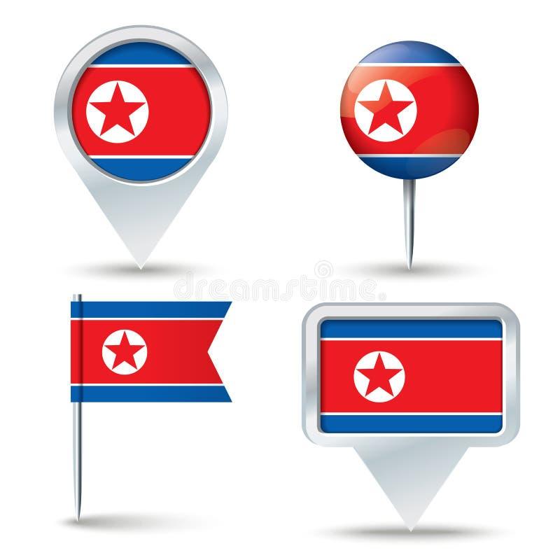 Καρφίτσες χαρτών με τη σημαία της Βόρεια Κορέας ελεύθερη απεικόνιση δικαιώματος