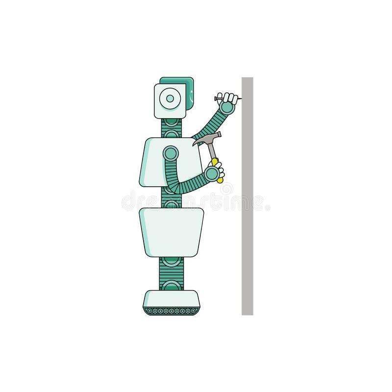 Καρφί σφυριών οικονόμων ρομπότ στον τοίχο - χαρακτήρας κινουμένων σχεδίων που απομονώνεται στο άσπρο υπόβαθρο διανυσματική απεικόνιση