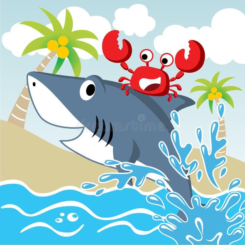 Καρχαρίας και καβούρι διανυσματική απεικόνιση