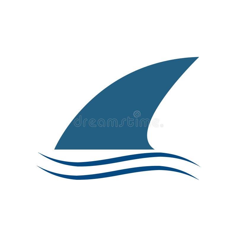 Καρχαρίας πτερυγίων επάνω από το σύγχρονο σύμβολο λογότυπων νερού - διάνυσμα διανυσματική απεικόνιση