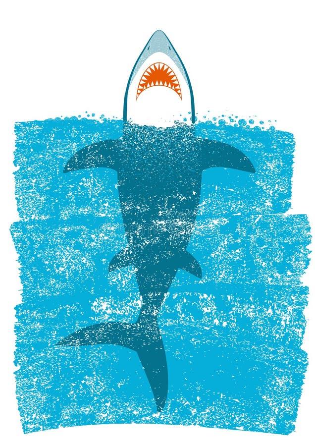 Καρχαρίας στα ωκεάνια μπλε κύματα Διανυσματική ανασκόπηση ελεύθερη απεικόνιση δικαιώματος