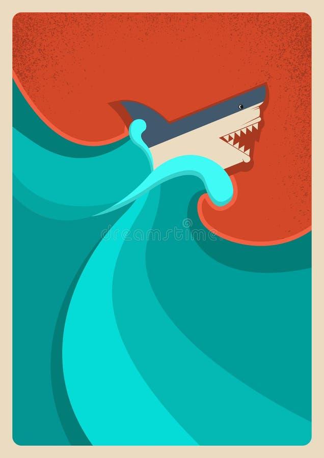 Καρχαρίας στην μπλε θάλασσα Διανυσματικό υπόβαθρο αφισών απεικόνιση αποθεμάτων