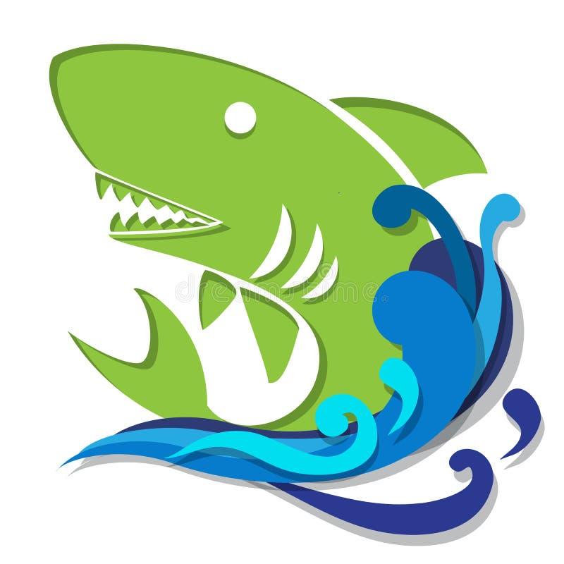 Καρχαρίας στη γραφική τέχνη νερού ελεύθερη απεικόνιση δικαιώματος