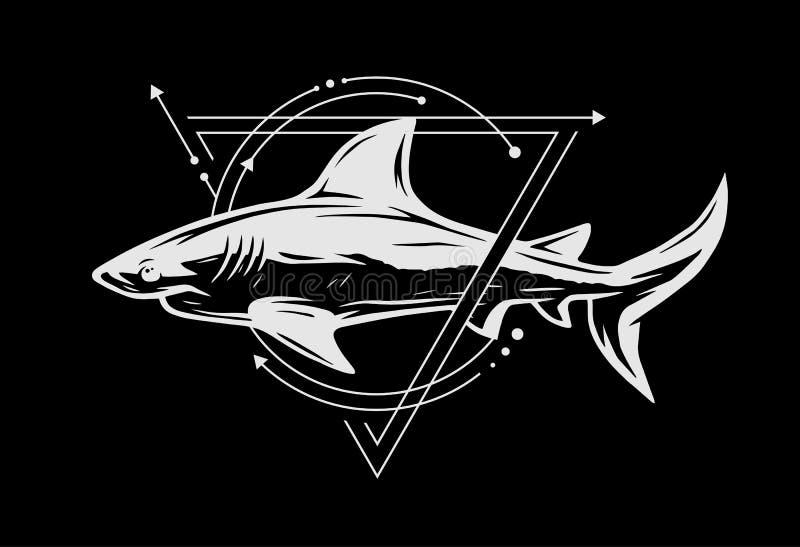 Καρχαρίας στο υπόβαθρο των γεωμετρικών στοιχείων απεικόνιση αποθεμάτων