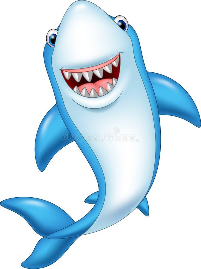 Καρχαρίας χαμόγελου κινούμενων σχεδίων που απομονώνεται στο άσπρο υπόβαθρο διανυσματική απεικόνιση