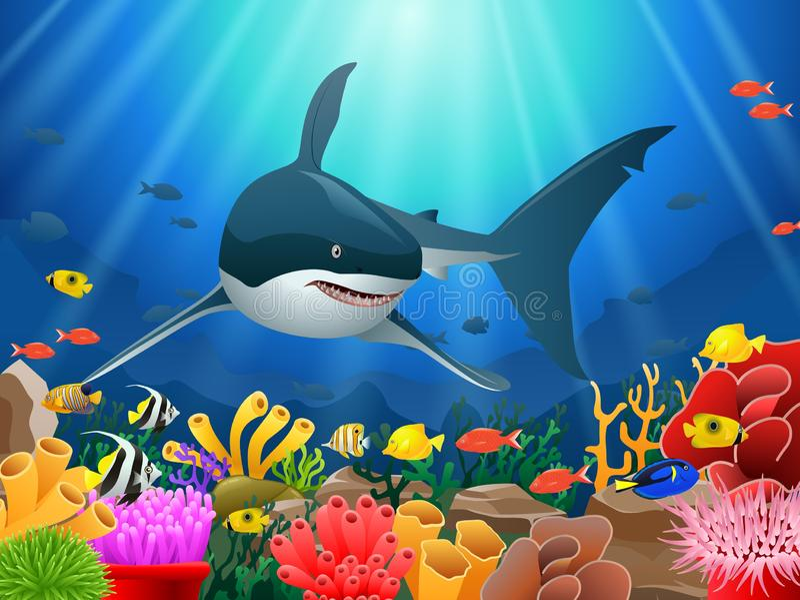 Καρχαρίες και κοραλλιογενείς ύφαλοι στη θάλασσα ελεύθερη απεικόνιση δικαιώματος