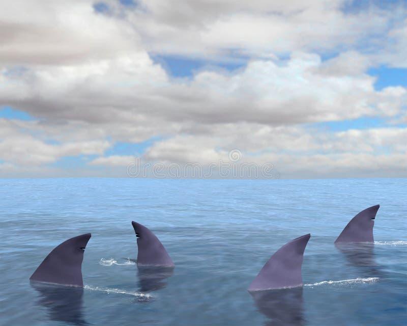 Καρχαρίες, πτερύγιο καρχαριών, θάλασσα, ωκεανός απεικόνιση αποθεμάτων