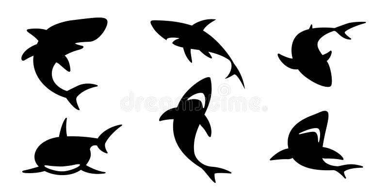 Καρχαριών διανυσματικά εικονιδίων λογότυπων δελφινιών κινούμενα σχέδια χαρακτήρα απεικόνισης κυμάτων φαλαινών ωκεάνια γραφικά ελεύθερη απεικόνιση δικαιώματος