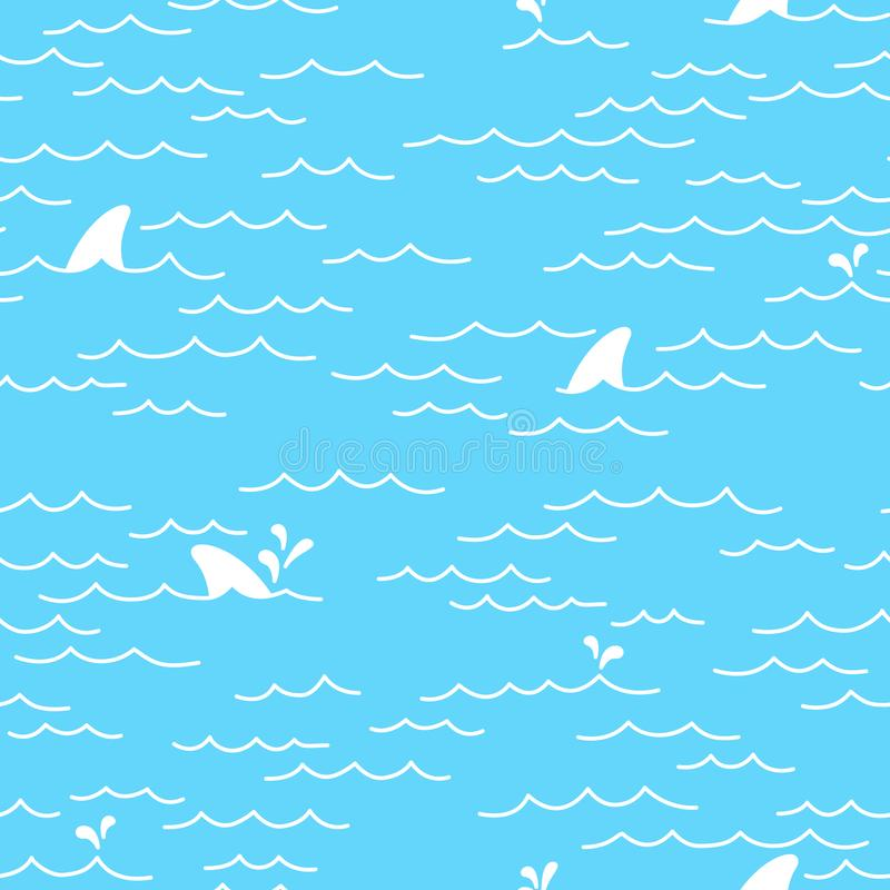 Καρχαριών φαλαινών δελφινιών άνευ ραφής σχεδίων υπόβαθρο ταπετσαριών θάλασσας ωκεάνιο απομονωμένο doodle ελεύθερη απεικόνιση δικαιώματος