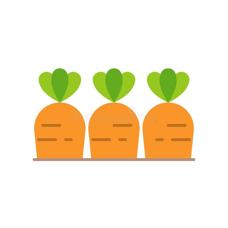Καρότα στο χώμα, επίπεδο εικονίδιο διανυσματική απεικόνιση