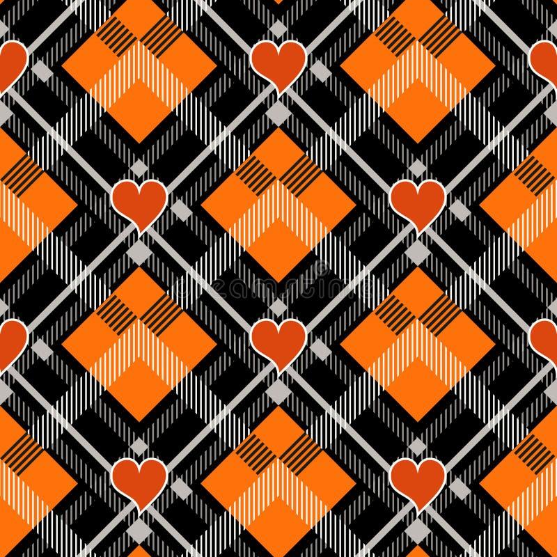 Καρό ταρτάν αποκριών με την καρδιά Σκωτσέζικο σχέδιο στο πορτοκαλί, μαύρο και γκρίζο κλουβί Σκωτσέζικο κλουβί Παραδοσιακός σκωτσέ διανυσματική απεικόνιση