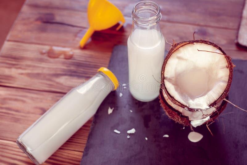 Καρύδα, δύο μπουκάλια με το γάλα και τη χοάνη κοκοφοινίκων στοκ φωτογραφία με δικαίωμα ελεύθερης χρήσης