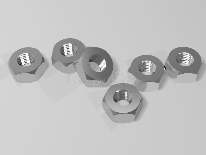 Καρύδια στο γκρίζο υπόβαθρο τρισδιάστατη απόδοση διανυσματική απεικόνιση