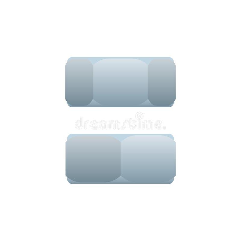 Καρύδι δεκαεξαδικού πλάγιας όψης που απομονώνεται στο άσπρο υπόβαθρο διανυσματική απεικόνιση