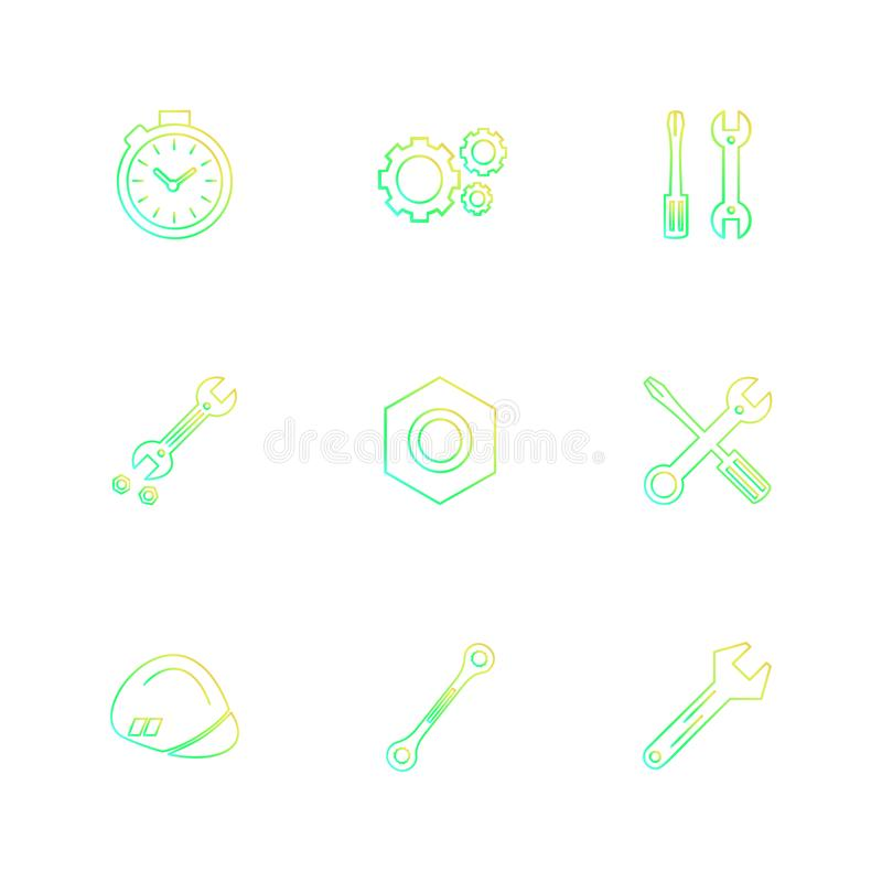 καρύδι, κατσαβίδι, γαλλικό κλειδί, χρονόμετρο με διακόπτη, υλικό, εργαλεία, ομο διανυσματική απεικόνιση