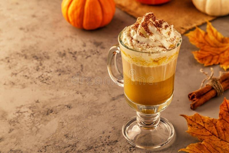 Καρύκευμα κολοκύθας latte με την κτυπημένη κρέμα στοκ εικόνες