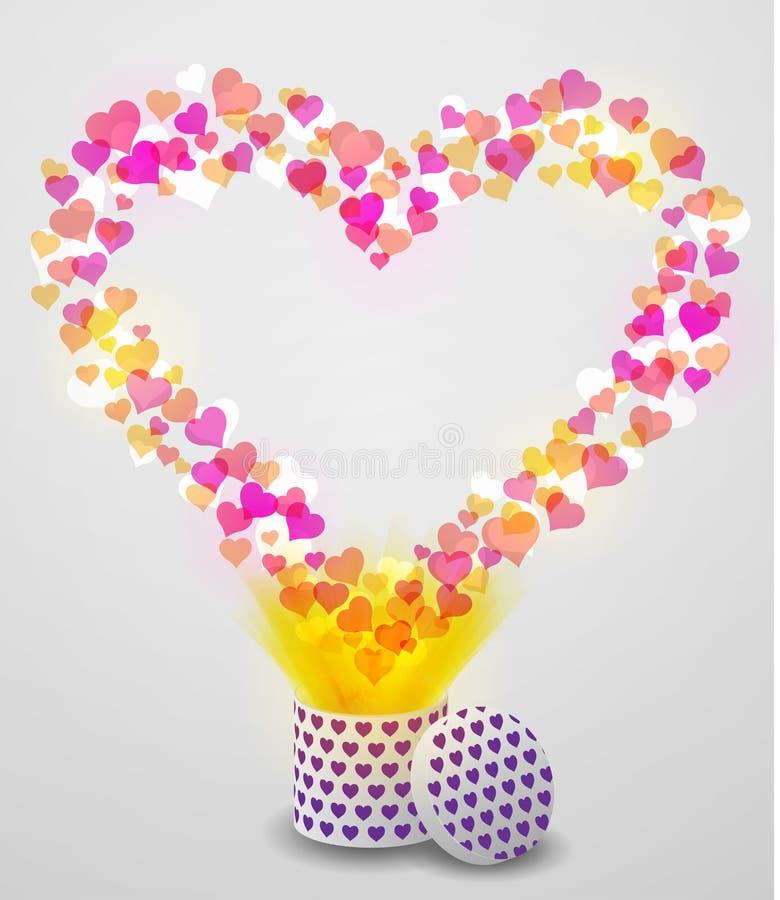Καρδιά αγάπης που πετά από το παρόν κιβώτιο στο υπόβαθρο bokeh διανυσματική απεικόνιση