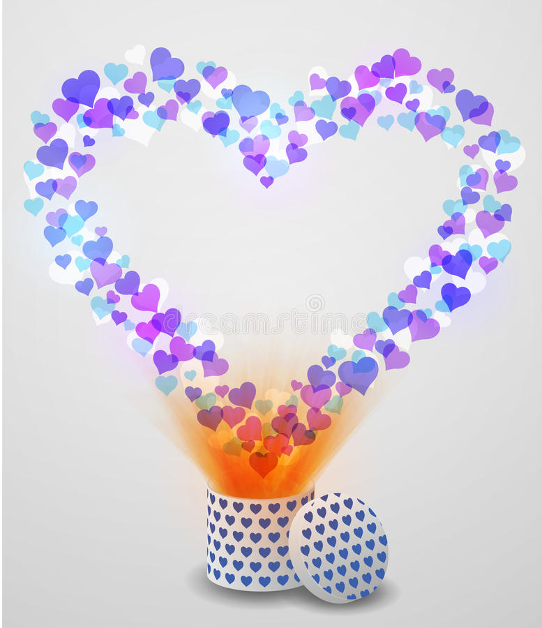 Καρδιά αγάπης που πετά από το παρόν κιβώτιο στο υπόβαθρο bokeh απεικόνιση αποθεμάτων