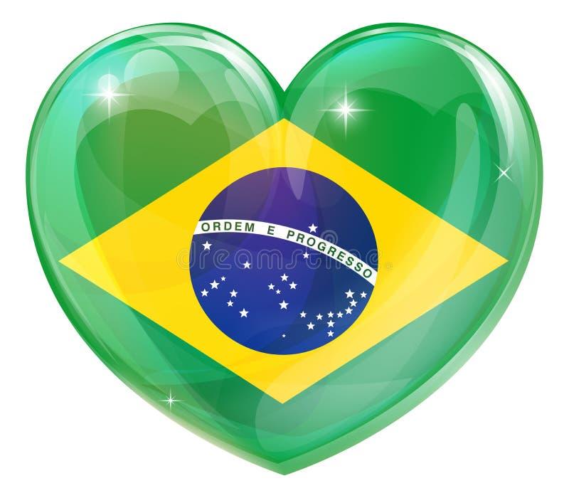 Καρδιά αγάπης σημαιών της Βραζιλίας ελεύθερη απεικόνιση δικαιώματος