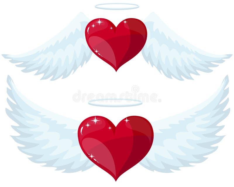 Καρδιά αγγέλου με τα φτερά απεικόνιση αποθεμάτων