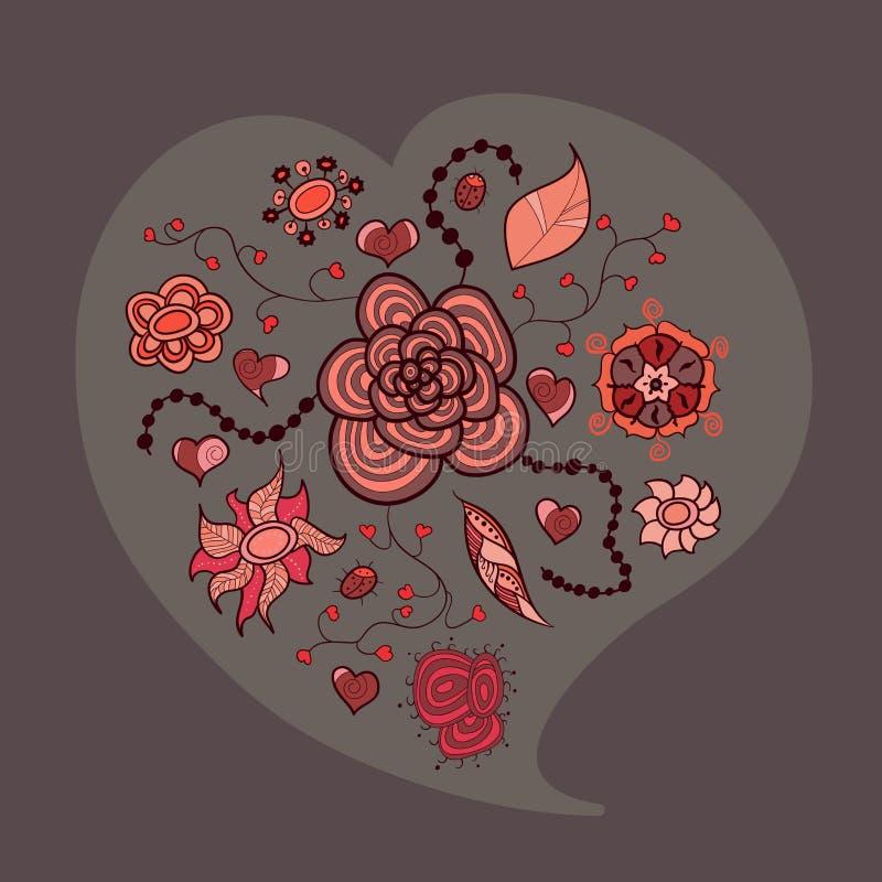 Καρδιά από τα φύλλα και τα έντομα λουλουδιών ελεύθερη απεικόνιση δικαιώματος