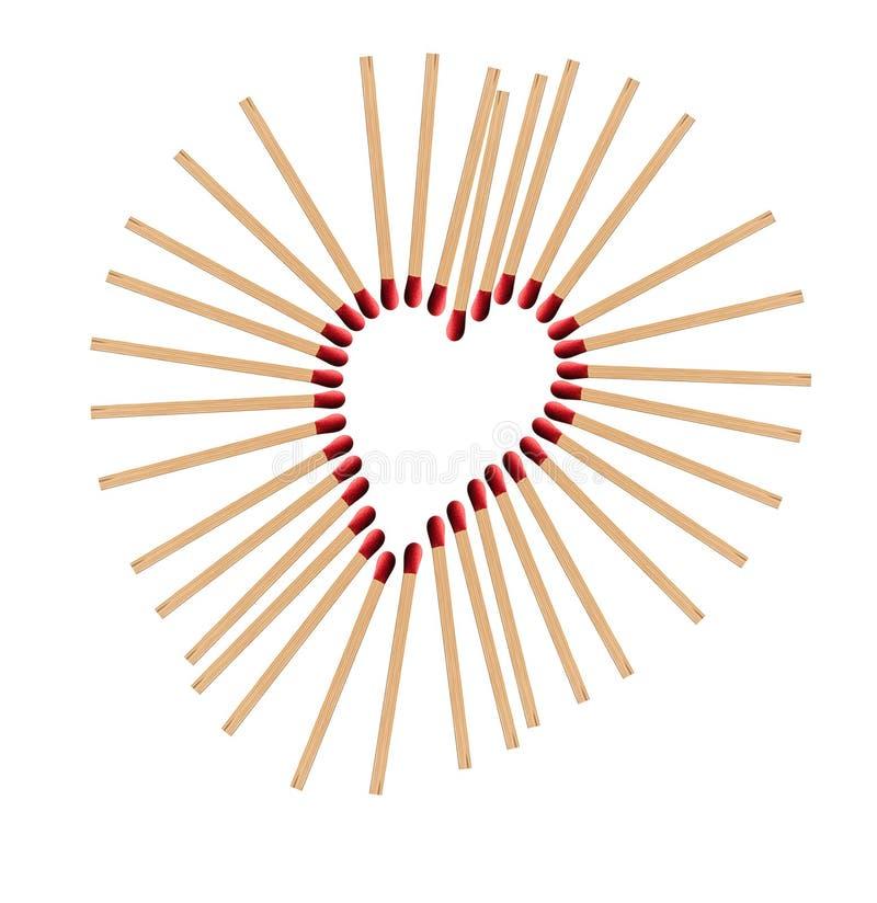 Καρδιά από τα matchsticks στοκ φωτογραφίες