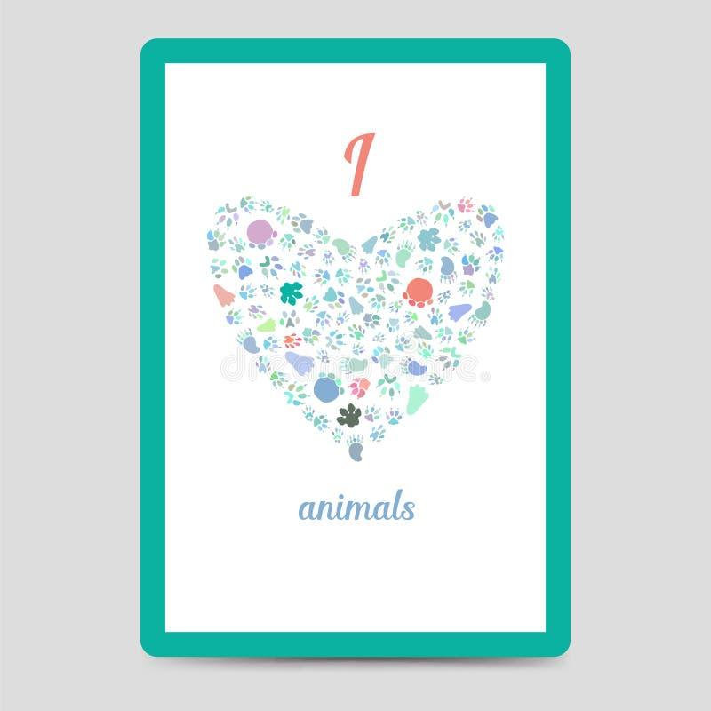 Καρδιά από τη ζωική κάρτα ιχνών διανυσματική απεικόνιση