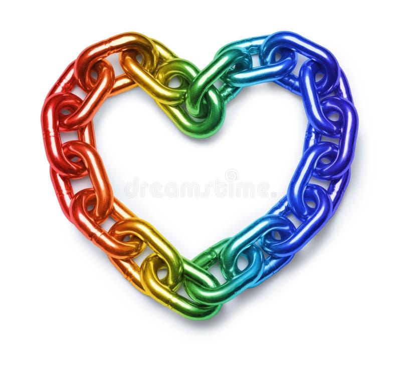 Καρδιά αλυσίδων ουράνιων τόξων LGBT στοκ φωτογραφία με δικαίωμα ελεύθερης χρήσης