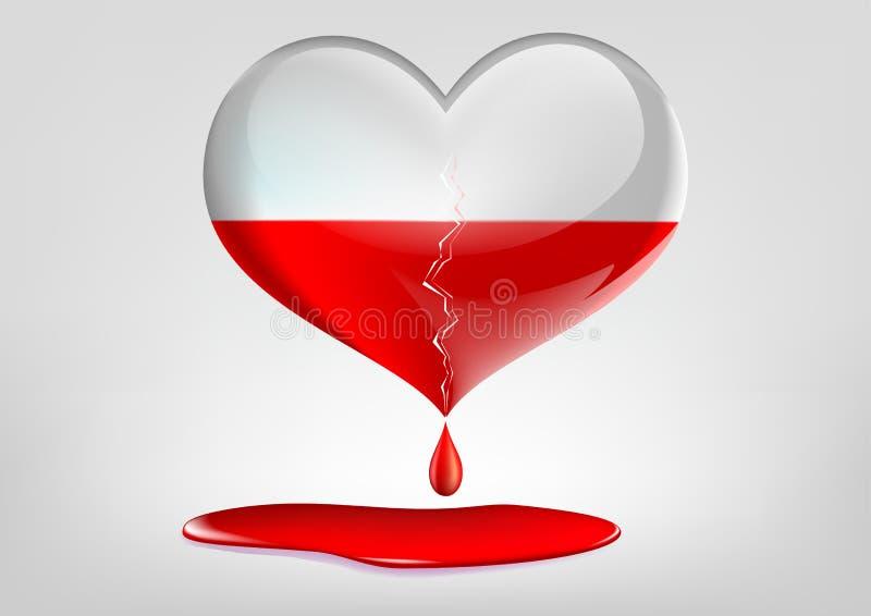 Καρδιά γυαλιού με μια ρωγμή και ένα αίμα απεικόνιση αποθεμάτων
