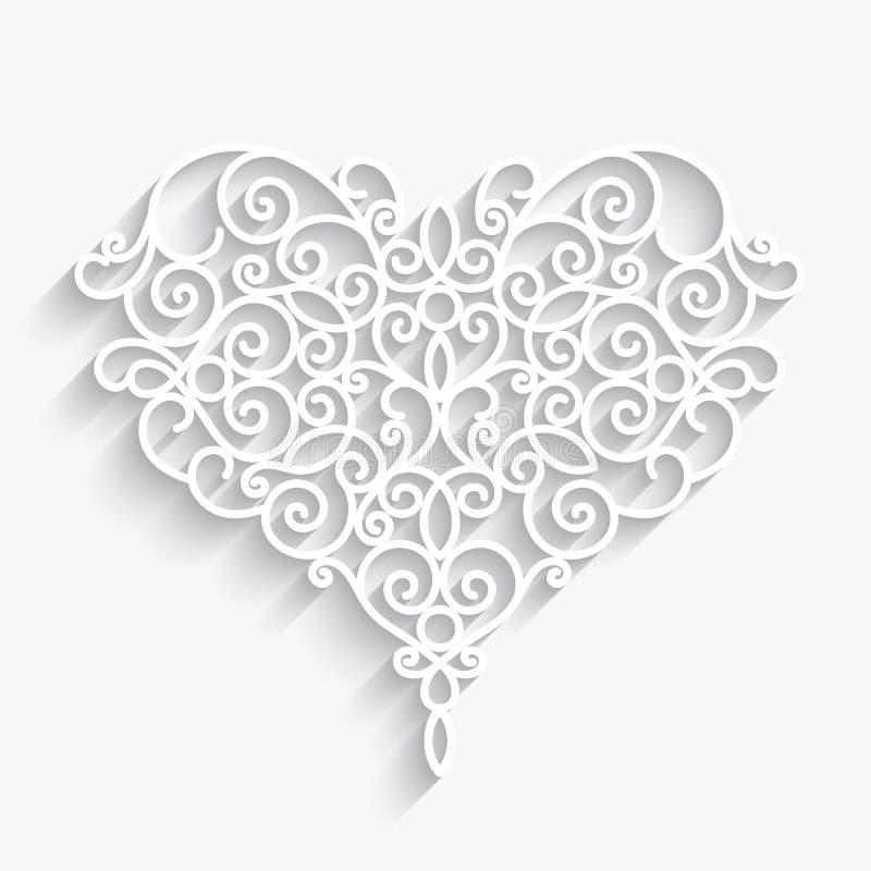 Καρδιά εγγράφου στο λευκό απεικόνιση αποθεμάτων