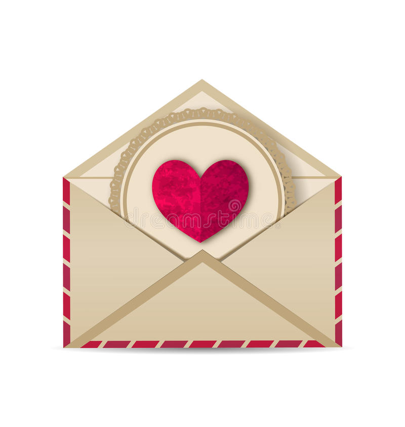 Καρδιά εγγράφου grunge στον ανοικτό παλαιό φάκελο απεικόνιση αποθεμάτων