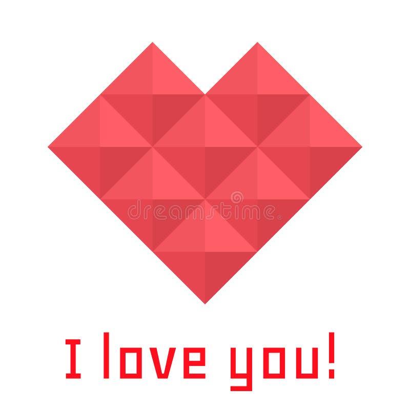 Καρδιά εικονιδίων των τριγώνων, έμβλημα, σ' αγαπώ απεικόνιση αποθεμάτων