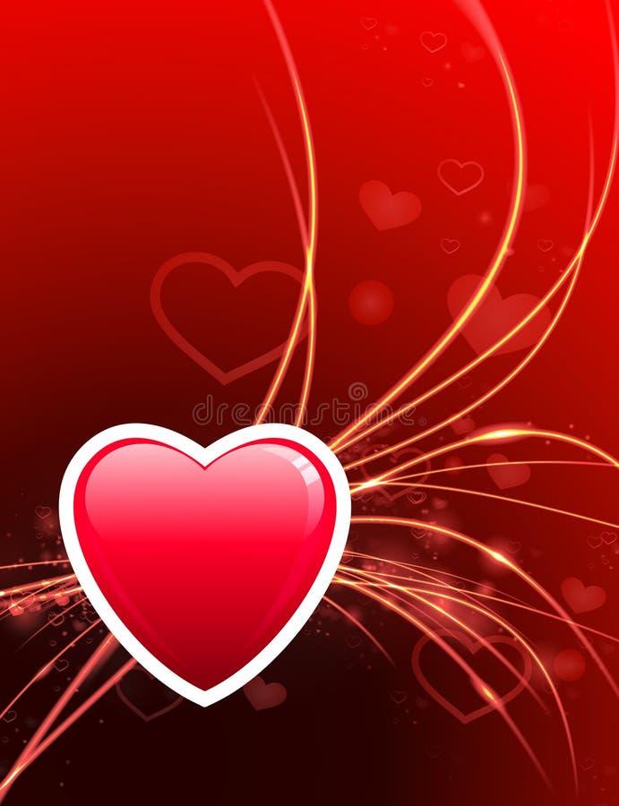 Καρδιά ημέρας βαλεντίνου στο αφηρημένο ελαφρύ υπόβαθρο απεικόνιση αποθεμάτων
