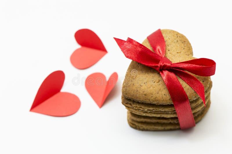 Καρδιά-διαμορφωμένα μπισκότα στοκ εικόνες