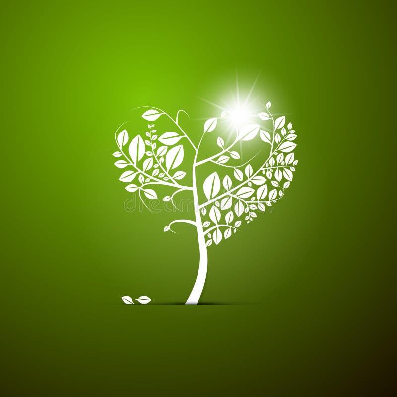 Καρδιά-διαμορφωμένο διάνυσμα δέντρο απεικόνιση αποθεμάτων